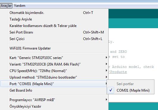 STM32F103 Kod Atma İşlemi 2